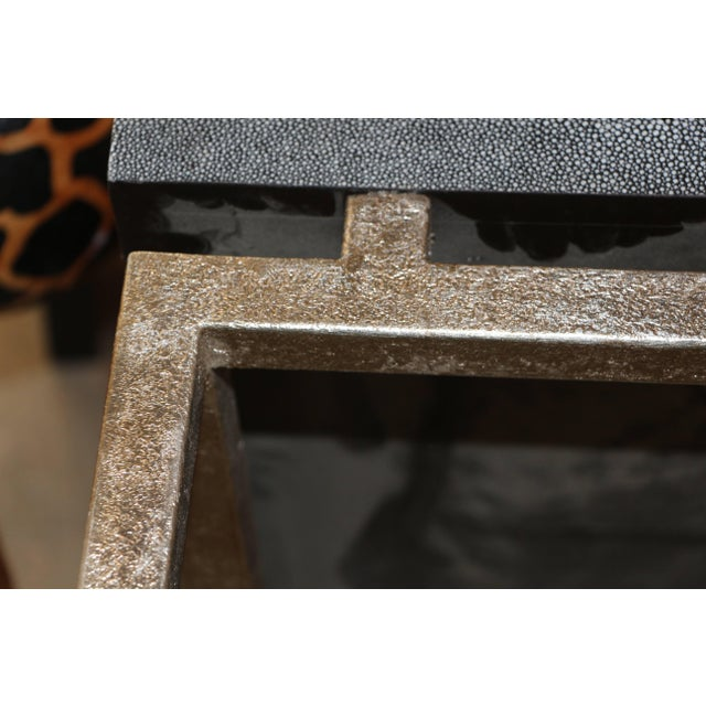 Black Faux Shagreen and Metal Coffee Table For Sale - Image 8 of 10