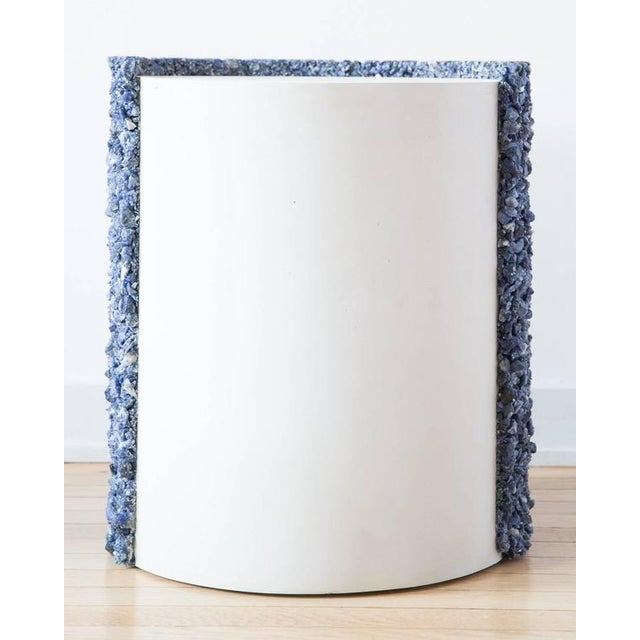 Contemporary Hand Made Blue Sodalite and White Plaster Drum, Side Table by Samuel Amoia For Sale - Image 3 of 9