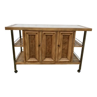 Mid-Century Modern J. L. Metz Burl Bar Cart With Travertine Top For Sale