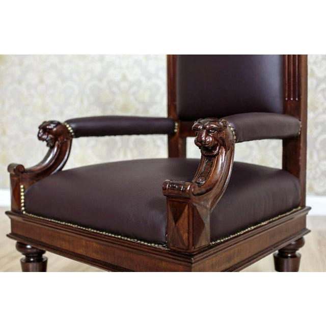 Brown Circa 1920 Oak Armchair Throne For Sale - Image 8 of 9
