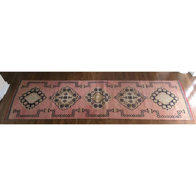 Vintage Turkish Oushak Pink Faded Tribal Boho Runner Rug 2'6'' X 9'7'' For Sale - Image 11 of 11