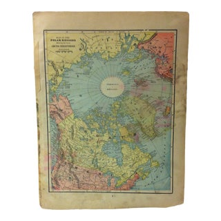 "1940 Vintage Map Print""Map of the Polar Regions"" For Sale"