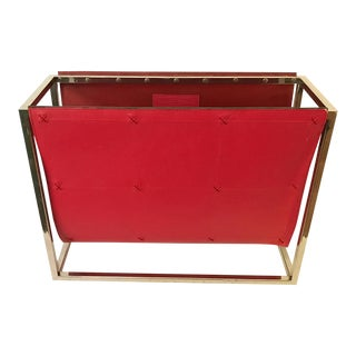 Vintage Red Chrome Global Views Magazine Caddy Rack For Sale
