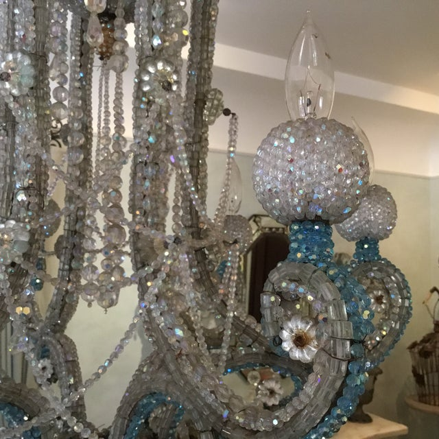 Crystal Six-Arm Chandelier For Sale - Image 4 of 4
