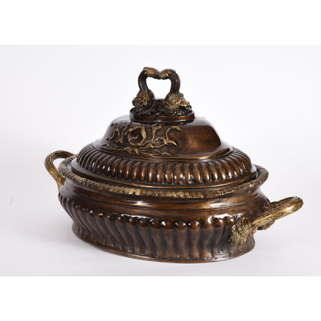 Bronze Early 20th Century Neoclassical Style Bronze Tureen Centerpieces - a Pair For Sale - Image 7 of 13