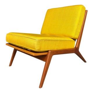 Mid Century Danish Modern Ib Kofod-Larsen for Selig Teak Lounge Chair Yellow Cushions
