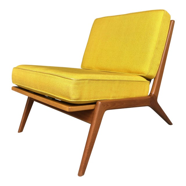 Mid Century Danish Modern Ib Kofod-Larsen for Selig Teak Lounge Chair Yellow Cushions For Sale
