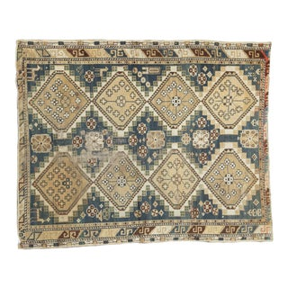 """Vintage Fragmented Caucasian Square Rug - 3'9"""" x 4'8"""" For Sale"""