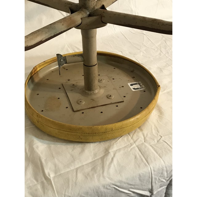 Vintage Industrial Casters Low Stool with Yellow Vinyl - Image 4 of 10