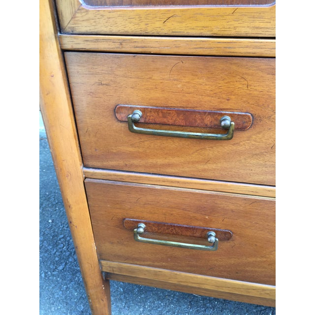 1960s 1960s Vintage Drexel Mid-Century Meridian Walnut Tall Chest 5 Drawer Dresser For Sale - Image 5 of 11