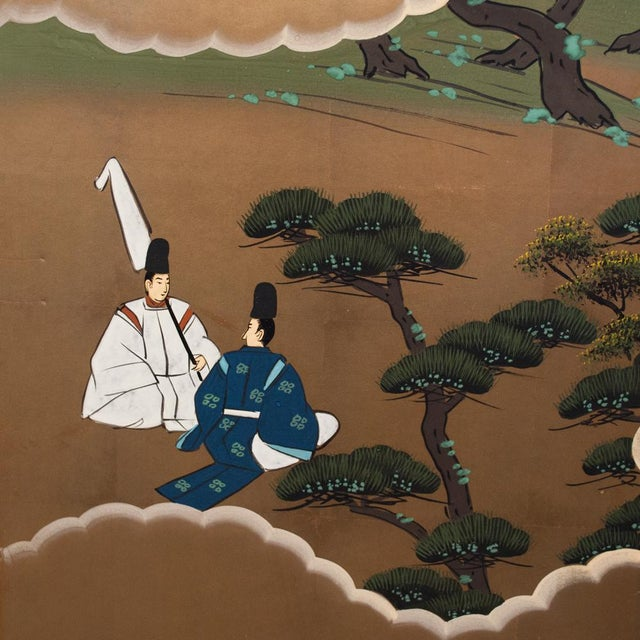 "Shōwa Era ""The Tale of Genji"" Japanese Byobu Screen For Sale - Image 4 of 13"