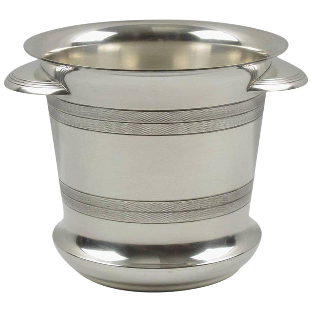 French Art Deco Modernist Silver Plate Champagne Bucket, Wine Cooler - Image 1 of 7
