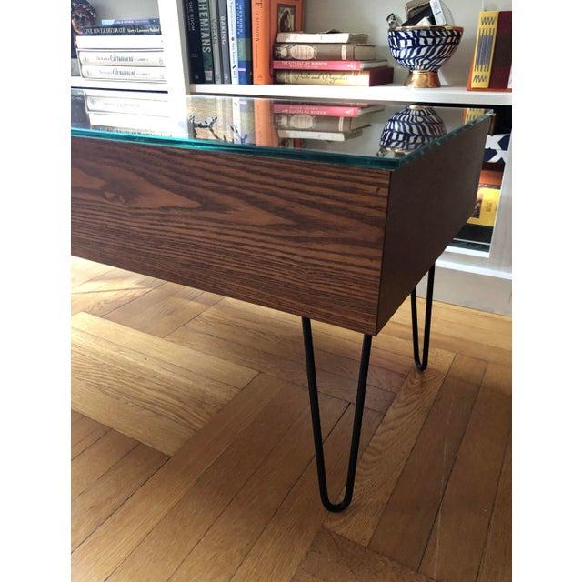 Mid Century Modern Style Coffee Table: Mid-Century Modern Style West Elm Glass Top Display Coffee