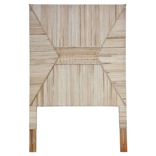 A twin headboard with a woven design, at home in any room.