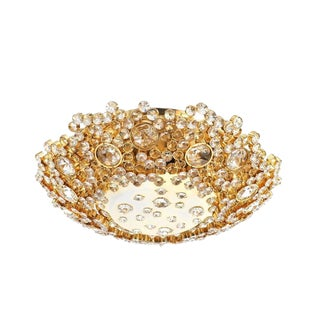 Palwa Crystal Glass Encrusted Gold Plated Brass Flush Mount Ceiling Light, 1960 For Sale