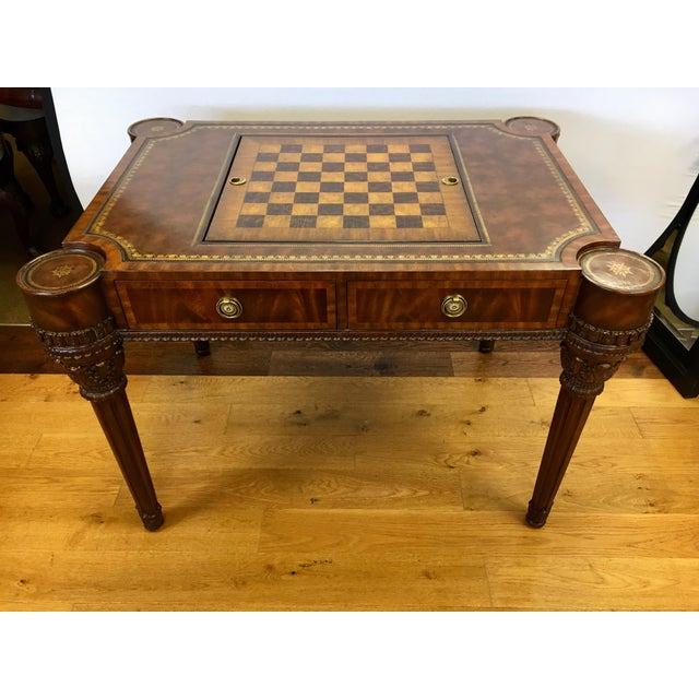 Maitland-Smith Carved Mahogany Game Table With Leather Top For Sale - Image 10 of 13
