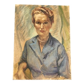 French 1950s Femme Aux Perles Painting For Sale