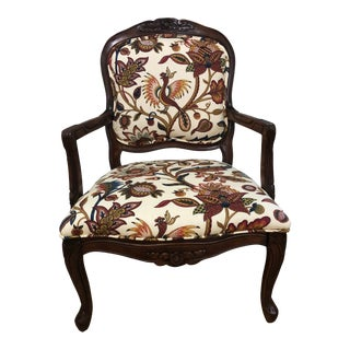 1970's Vintage Louis XV Style Fauteuil in Jacobean Print For Sale