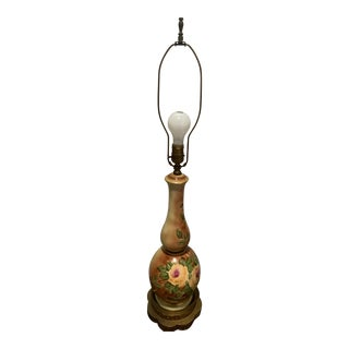 Early 20th Century Floral Hand Painted Signed Gourd Table Lamp For Sale