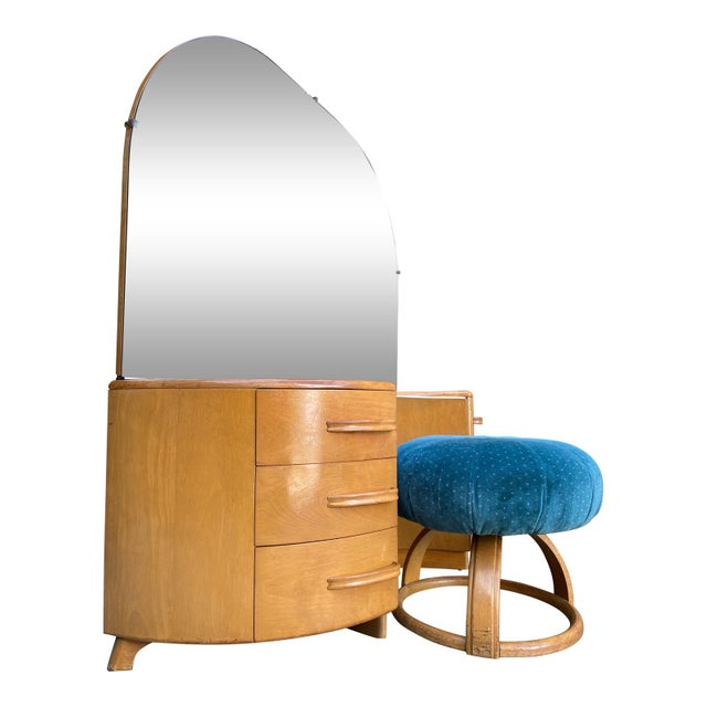 Mid-Century Modern Heywood WakeField Curved Vanity & Matching Stool - 2 Pieces For Sale - Image 3 of 11
