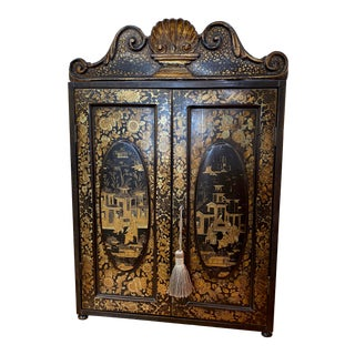 19th Century Black and Gold Chinoiserie Chest For Sale