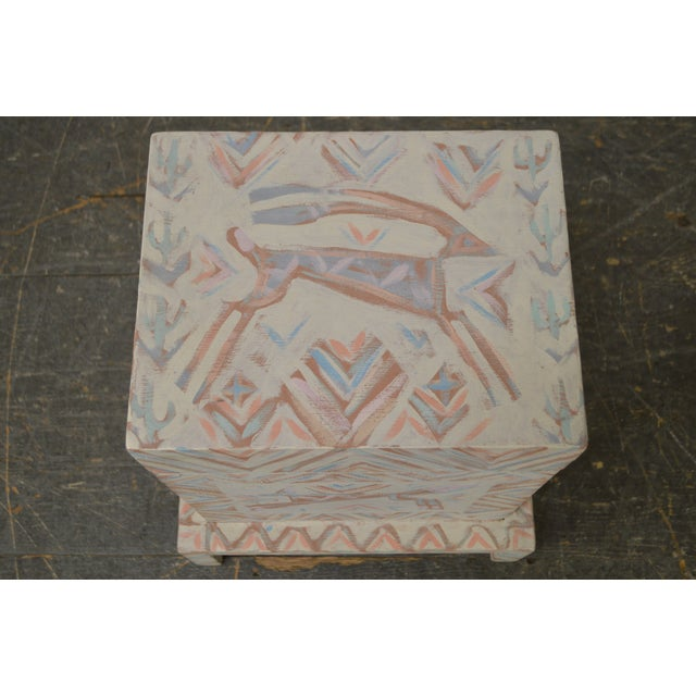 Hand Painted Folk Art Small Lift Top Chest For Sale - Image 5 of 11