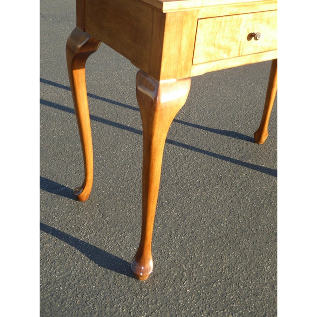 1970s Queen Anne Birch Wood Cedar Lined Two Drawer Writing Desk With Leaf Inlay For Sale - Image 12 of 13