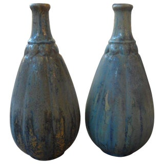 1920's Vintage French Glazed Pottery Vases - a Pair For Sale