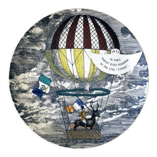 Vintage Piero Fornasetti Plate, Mongolfiere (Hot Air) Design, Number 9 in Series For Sale