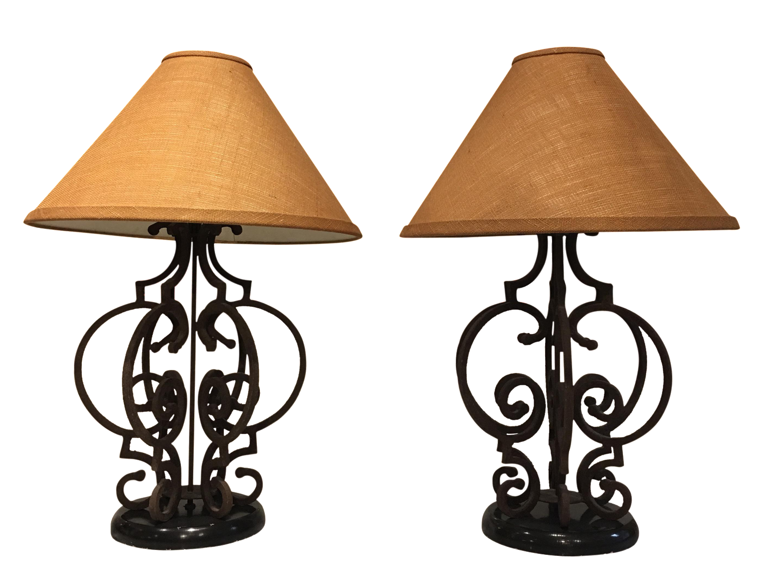 Perfect Ornate Rustic Wrought Iron Table Lamps   A Pair