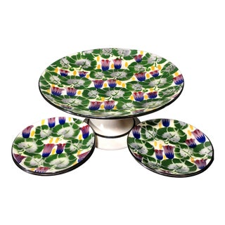 Antique Eichwald Bohemia Hand-Painted Porcelain Cake Stand & Plates - Set of 7 For Sale