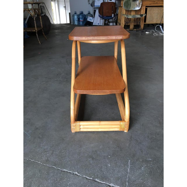 Restored Rattan Side Tables With Two-Tier Mahogany Tops - a Pair For Sale - Image 4 of 10