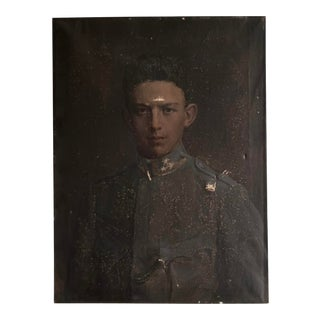 Antique Portrait of Young Soldier Oil on Canvas Painting For Sale