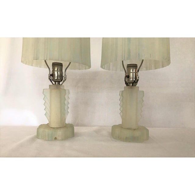 Art Deco Stunning Pair of Art Deco Lalique Glass Lamps Nickle Finials Blue Perimeter For Sale - Image 3 of 8