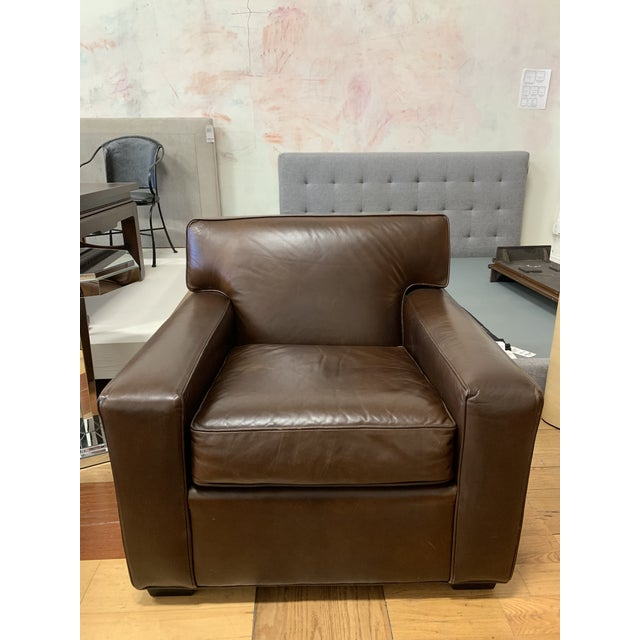 Restoration Hardware Mitchell Gold Leather Armchair For Sale - Image 10 of 10