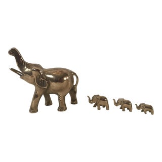 Vintage Brass Elephant Parade - Set of 4