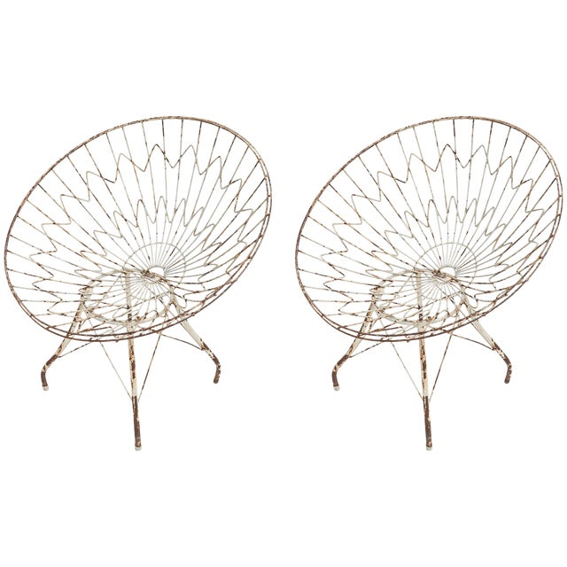 Round Metal Outdoor Garden Chairs - a Pair For Sale