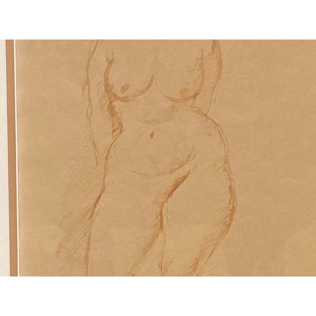 """""""Standing Nude"""" Hand Wash Drawing by Raphael Soyer For Sale - Image 11 of 13"""