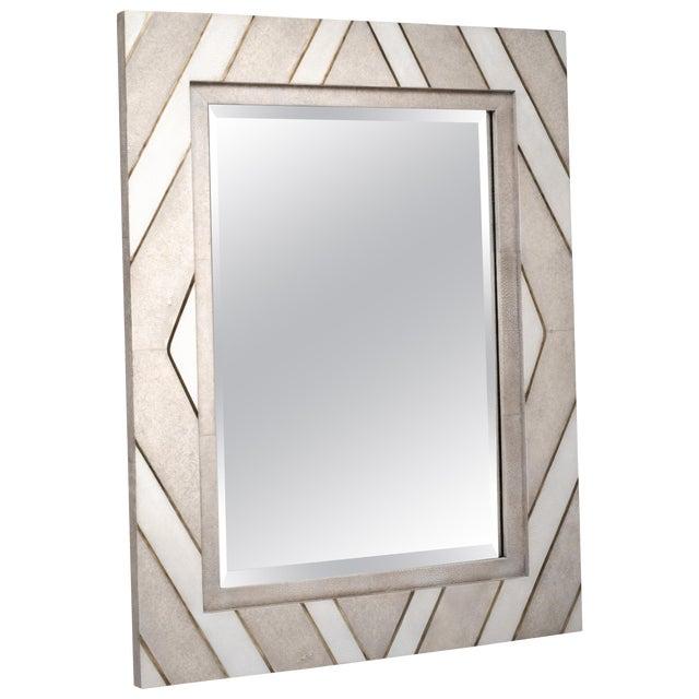 Zig Zag Mirror in Cream/White Shagreen Shell & Bronze-Patina Brass by Kifu Paris For Sale