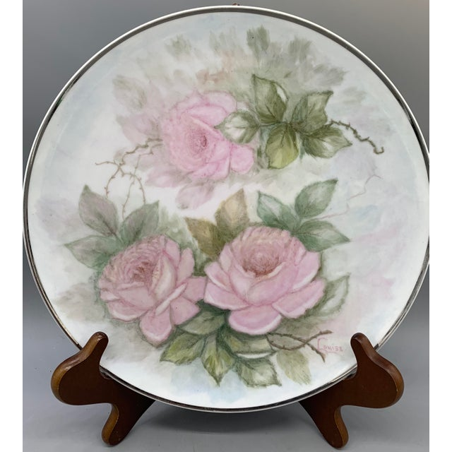 1940s Hand Painted Floral Decorative Wedding Plates - Set of 7 For Sale In Los Angeles - Image 6 of 13