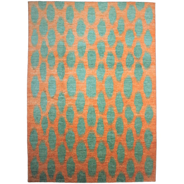 Aara Rugs Hand Knotted Modern Ikat Rug- 10′1″ × 13′3″ For Sale