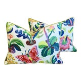 "Image of Schumacher Exotic Butterfly Feather/Down Pillows 24"" X 18"" - a Pair For Sale"