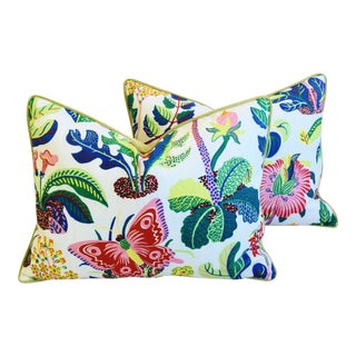 "Schumacher Exotic Butterfly Feather/Down Pillows 24"" X 18"" - a Pair For Sale"