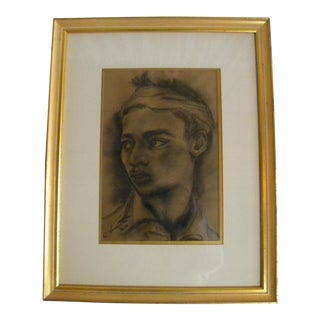Vintage Mid-Century Signed & Framed Charcoal Portrait Drawing For Sale