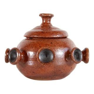 Modernist Brown Art Pottery Stoneware Lidded Jar For Sale