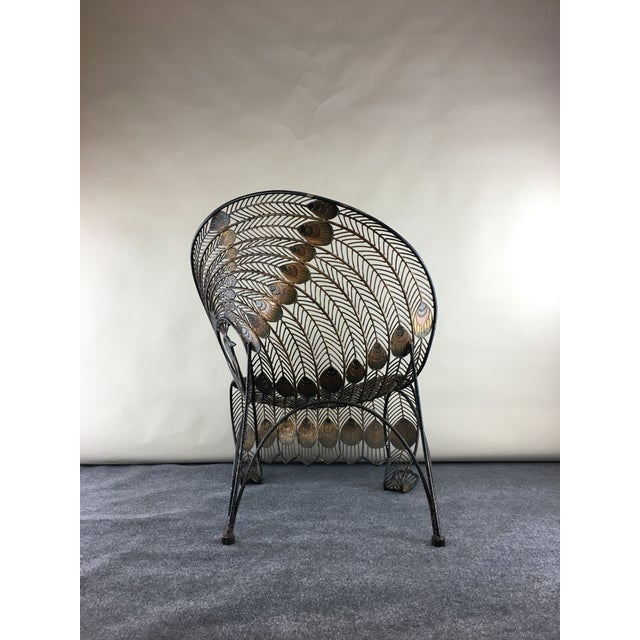 1990s 1990s Wrought Iron Sculptural Peacock Chair by Artmax For Sale - Image 5 of 11