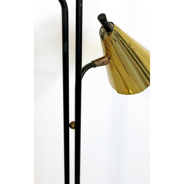 Mid 20th Century 1960s Mid-Century Modern Gerald Thurston Lightolier 3 Headed Brass Floor Lamp For Sale - Image 5 of 7