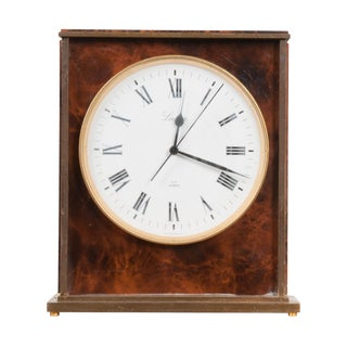Swiss Vintage Faux Tortoiseshell Desk Clock For Sale