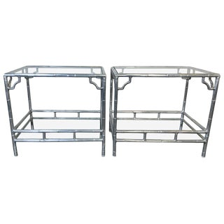 1960s Hollywood Regency Aluminum Faux Bamboo Side Tables With Glass Shelves For Sale