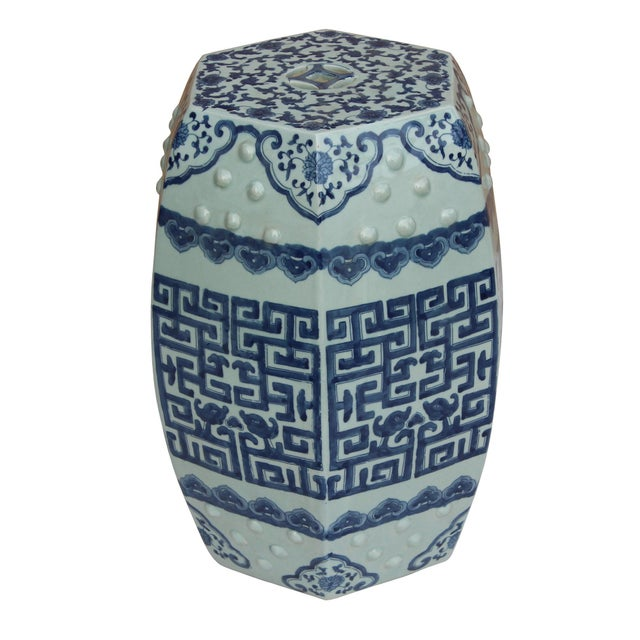 Chinese Blue & White Porcelain Scenery Hexagon Pattern Stool Table For Sale - Image 4 of 7